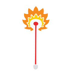 Quirky hand drawn cartoon hot thermometer vector