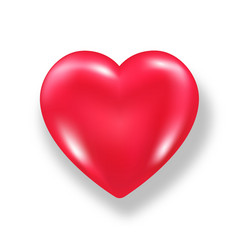 Red shiny 3d heart with shadow isolated on white vector