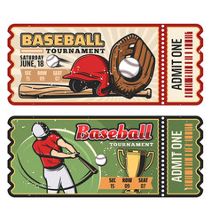 Retro tickets for baseball sport game vector