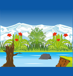 riverside with wild vegetation and snow mountains vector image