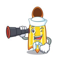 Sailor with binocular swim fin mascot cartoon vector