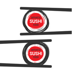 scribble sushi logo with chopsticks vector image