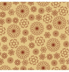 Seamless pattern with brown flowers on beige backg vector