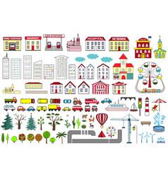 Set cartoon city map elements vector