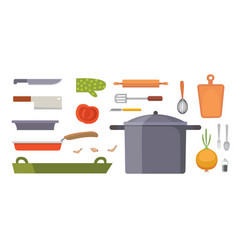 Set kitchen utensils cooking tools flat vector
