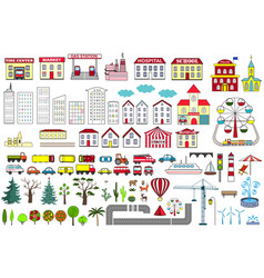 Set of cartoon city map elements vector