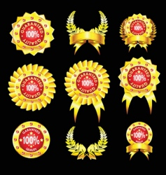 set of golden badges vector image