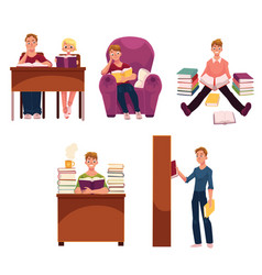 Set of people reading books studying in library vector