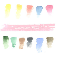 set of watercolor hand drawn brush blobs white vector image