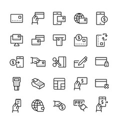 simple icon set pay items in line style symbols vector image