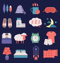 Sleep nignt time related icons set vector