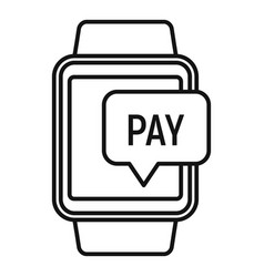 smartwatch nfc payment icon outline style vector image