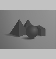 sphere and cuboid prism square pyramid figures set vector image