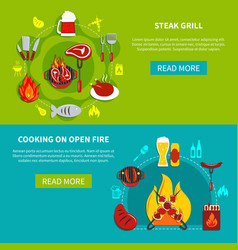 Steak grill and cooking on open fire flat vector