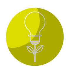 Sticker bulb plant with leaves to save environment vector