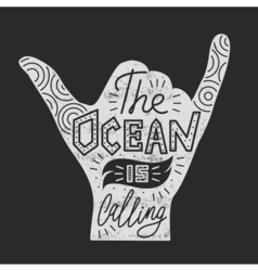 surf hand Silhouette isolated on white Quote vector image