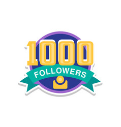 thank you 1000 followers numbers template for vector image
