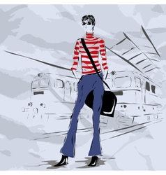 The woman costs on the platform vector
