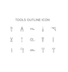 tools line icon set vector image