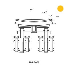 Tori gate monument world travel natural vector