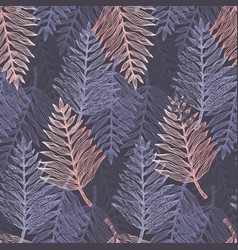 trendy dark blue and pink tropical leaves pattern vector image