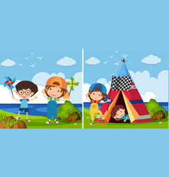 Two park scenes with kids playing vector