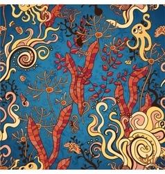 Underwater seaweed seamless pattern background vector image