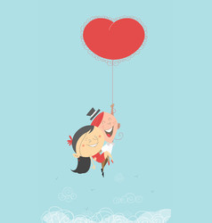 Valentine couple with flying heart ballong vector