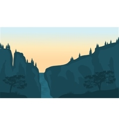 View of waterfall silhouette vector image