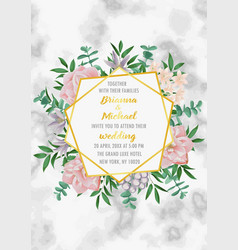 Wedding invitation with geometric frame flowers vector