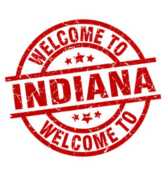 Welcome to indiana red stamp vector