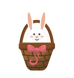 White rabbit inside brown hamper vector