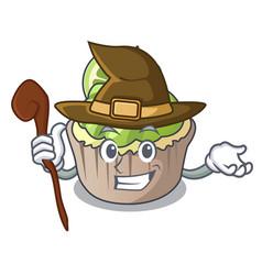 Witch lemon cupcake mascot cartoon vector
