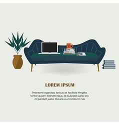 Workaholic - Working at home on the couch vector image