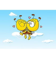bee in love kissing - cute vector image