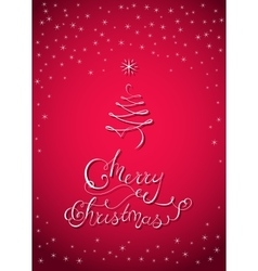 Christmas lettering card with x-mas tree vector