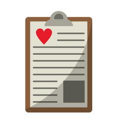 clipboard heart report vector image vector image