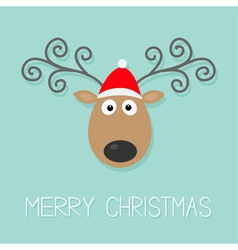 Cute cartoon deer with curly horns and red hat vector image