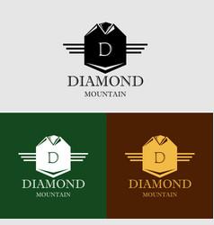 diamond mountain logo template vector image vector image