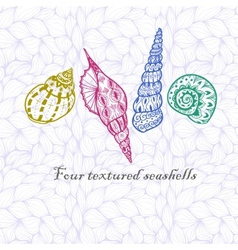 Four doodle seashells vector image