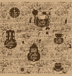 grunge seamless background on coffee theme vector image