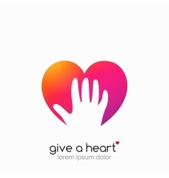 Hands holding heart symbol abstract gradient vector image vector image