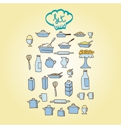 kitchen food colored icon vector image