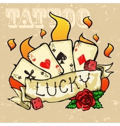 Poker Cards Tattoo Design vector image