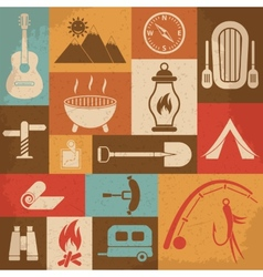 Retro camping icons set icons vector image vector image