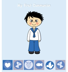 First Communion boy vector image