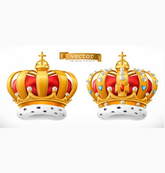 gold crown king 3d realistic icon vector image
