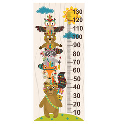 growth measure with tribal animal vector image vector image