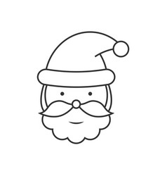 santa claus head line icon vector image
