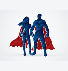 super hero man and woman standing graphic vector image vector image